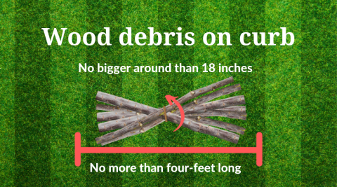 Graphic showing rules for putting wood debris on Iowa City curbs for pickup.