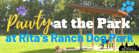 Graphic for Party in the Park at Rita's Ranch Dog Park.