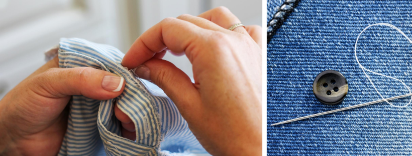 mending clothing with a needle and thread