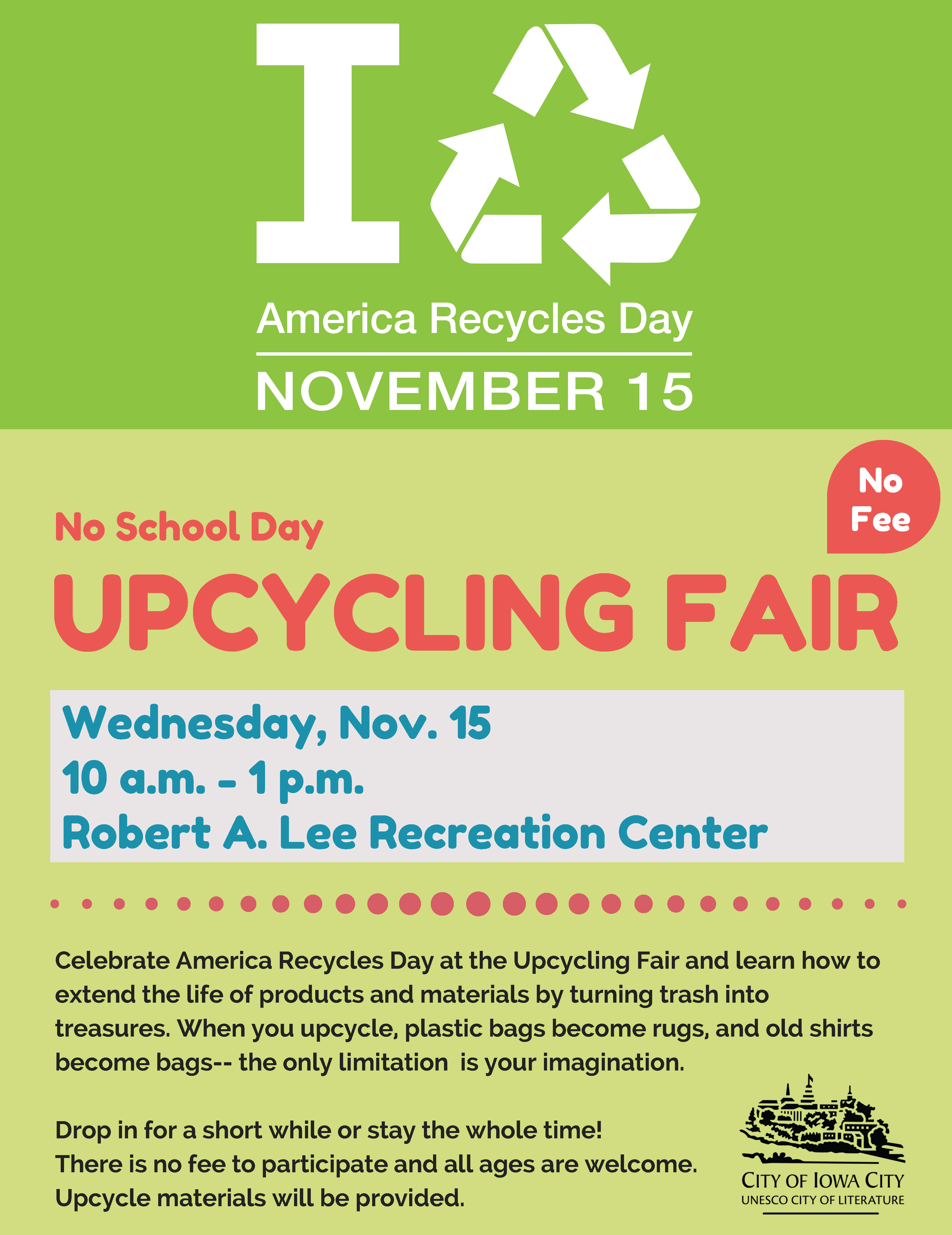 A flyer promoting America Recycles Day Upcycling Fair in Iowa City.