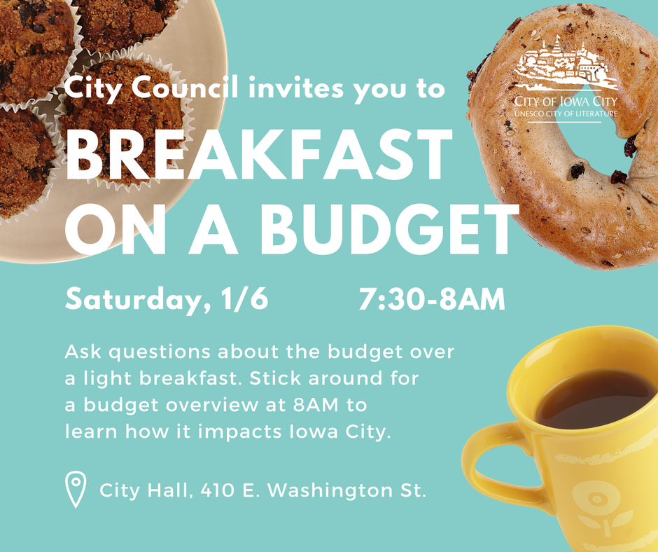 A graphic promoting the Iowa City Council's Breakfast on a Budget event.