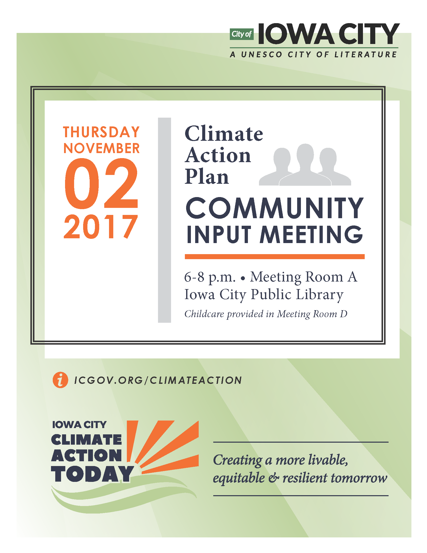 A poster promoting the community climate action meeting.