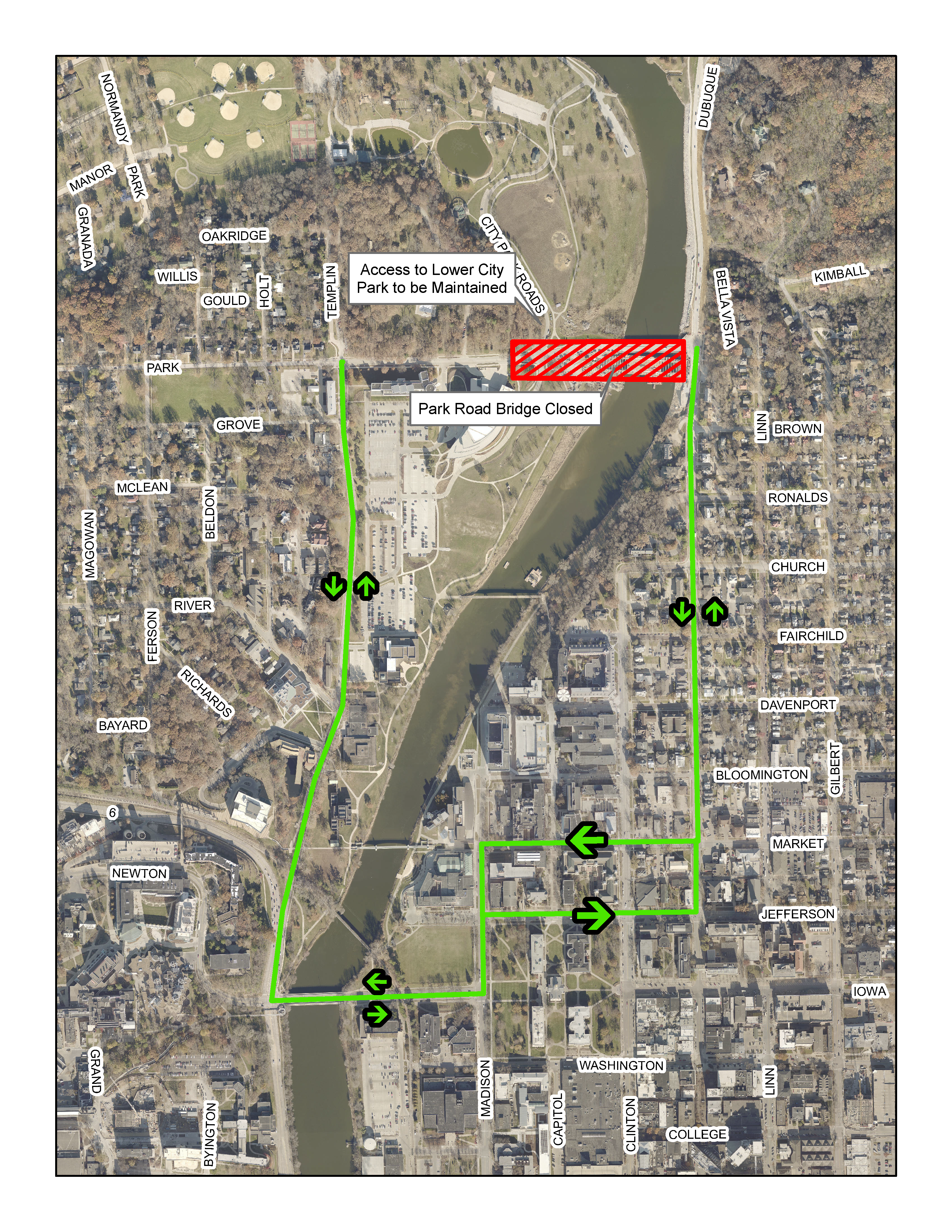The Park Road detour map for vehicles.