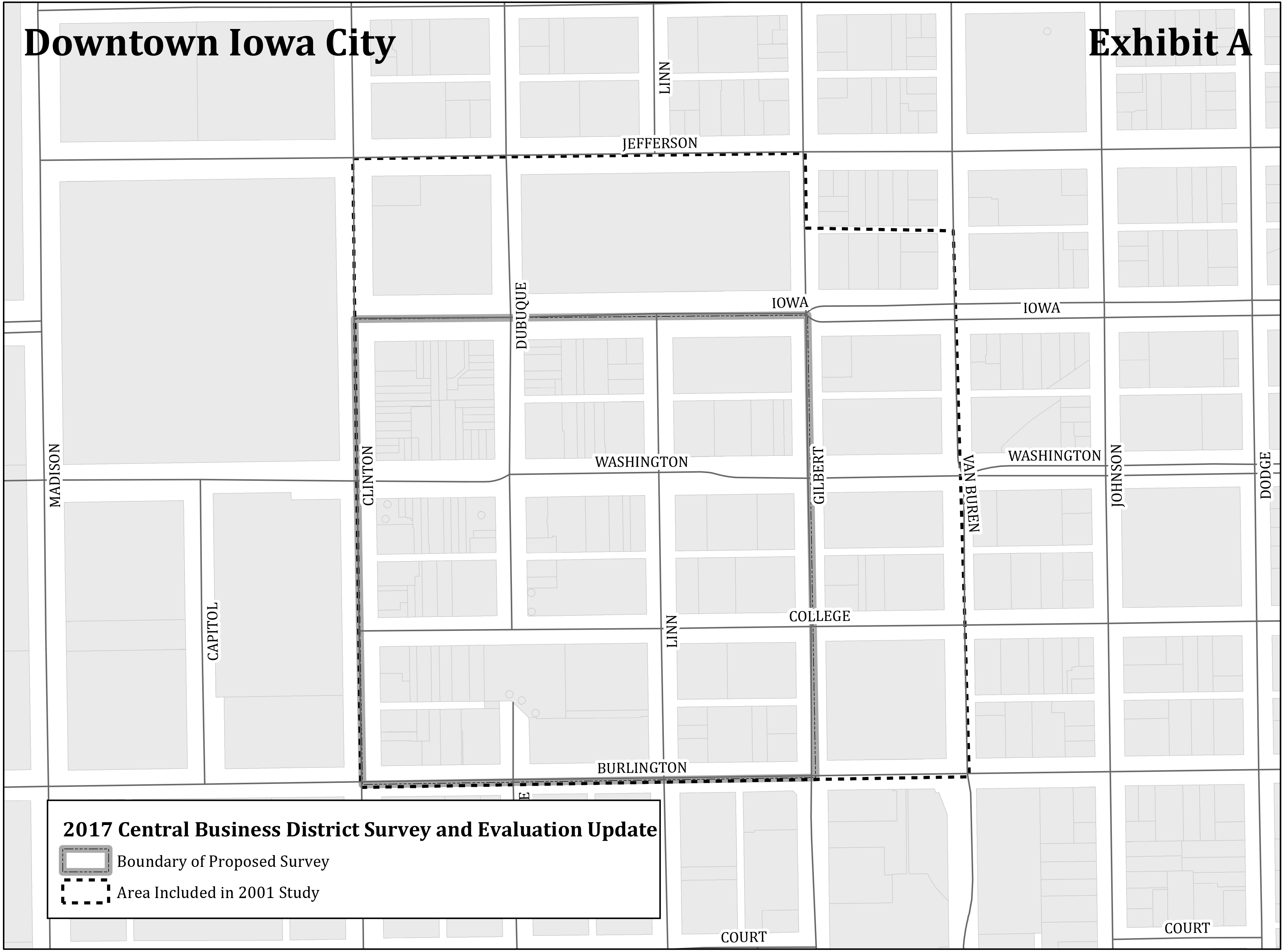 A map of the boundary for the historic building survey update