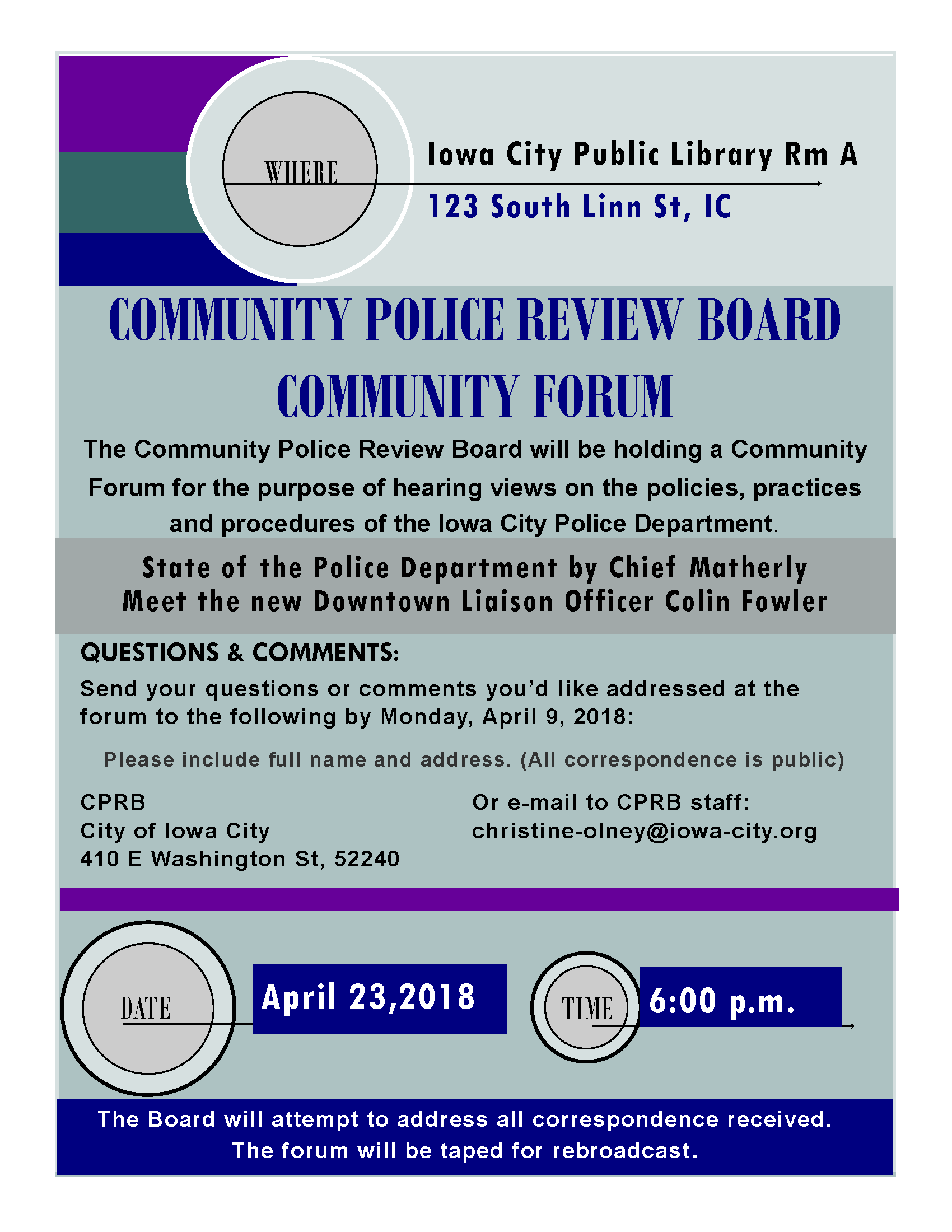 Flyer promoting CPRB Forum
