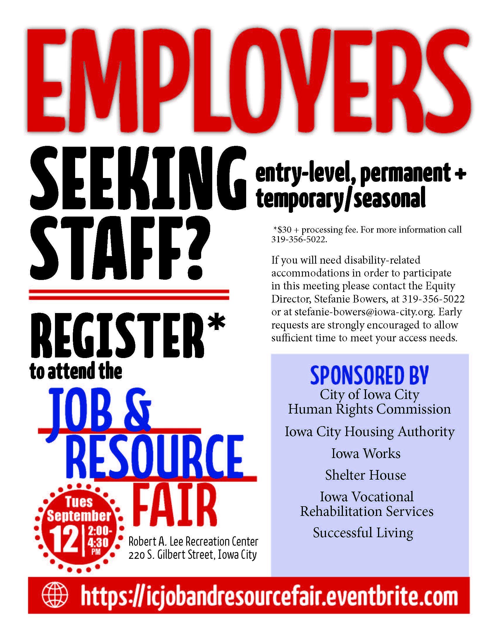 Poster for upcoming Job and Resource Fair