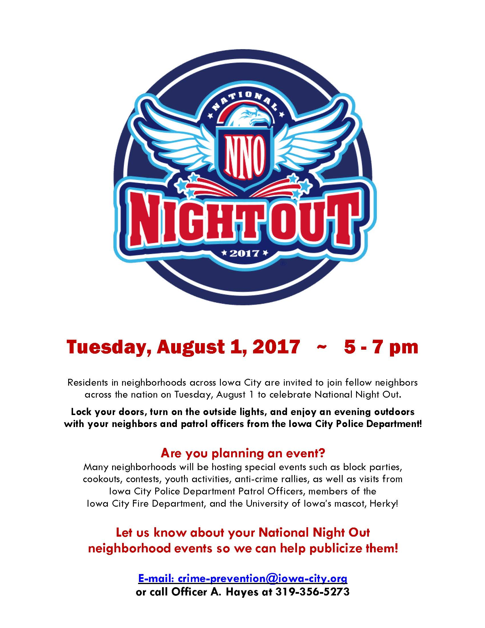 National Night Out poster 2017