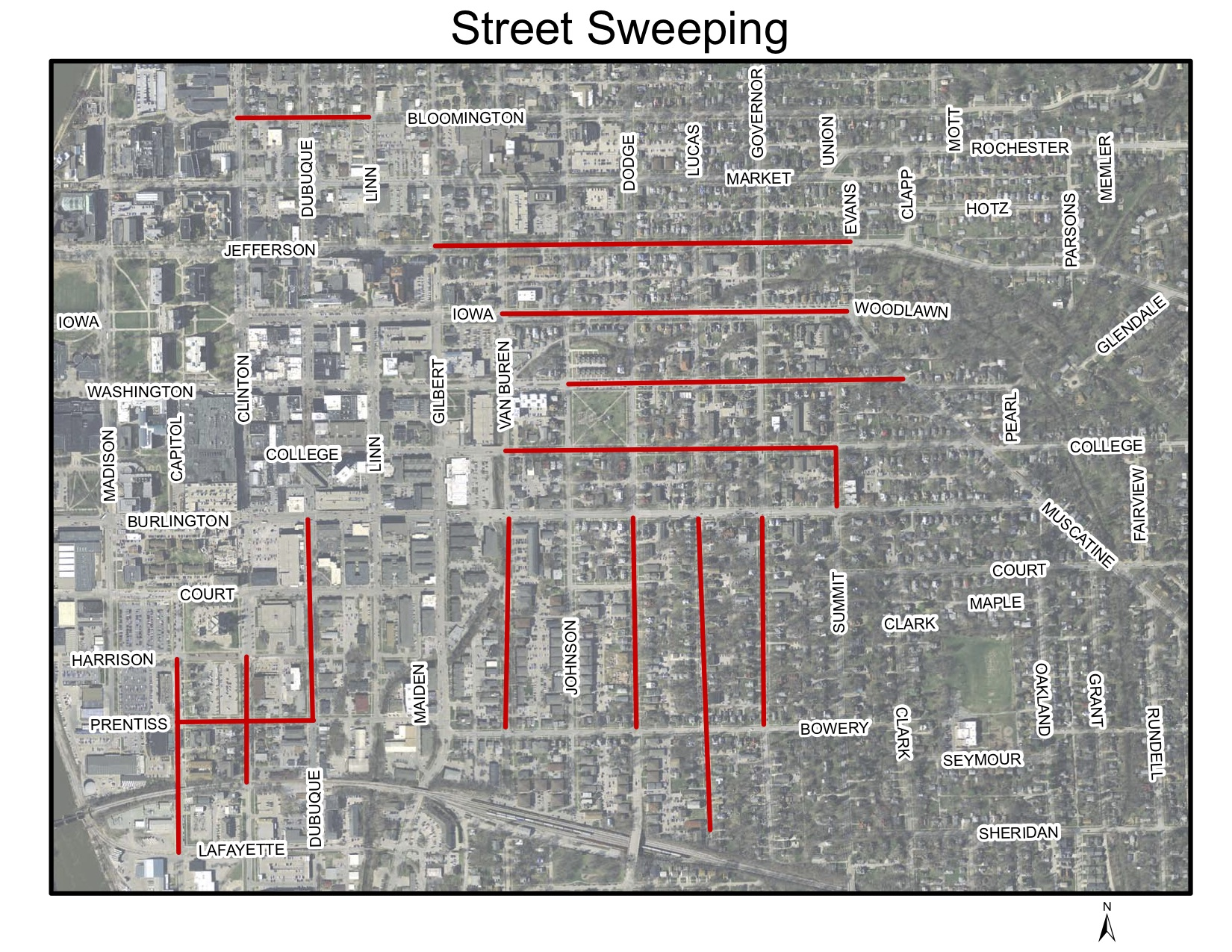 A map of street sweeping in Iowa City.