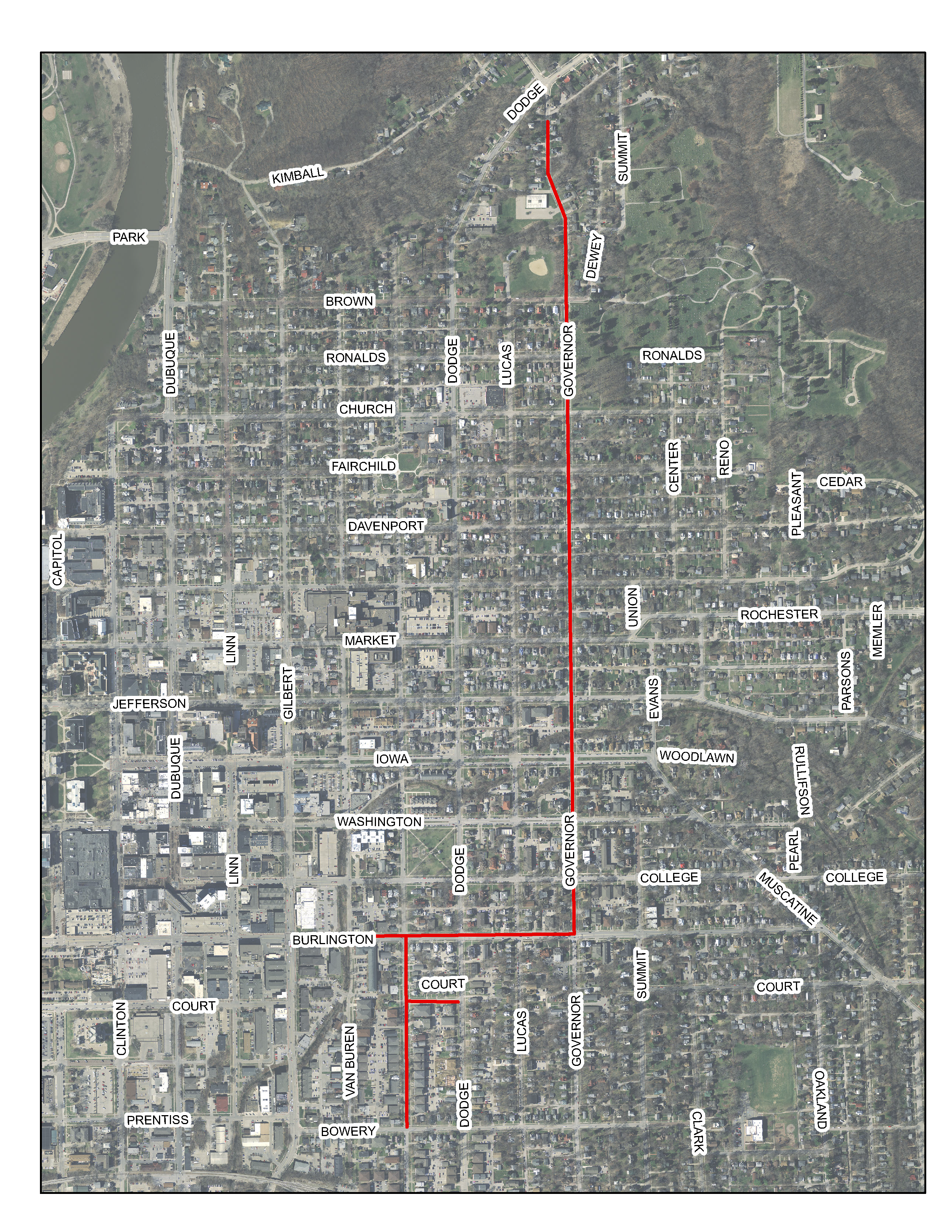 A map of the asphalt resurfacing project area.