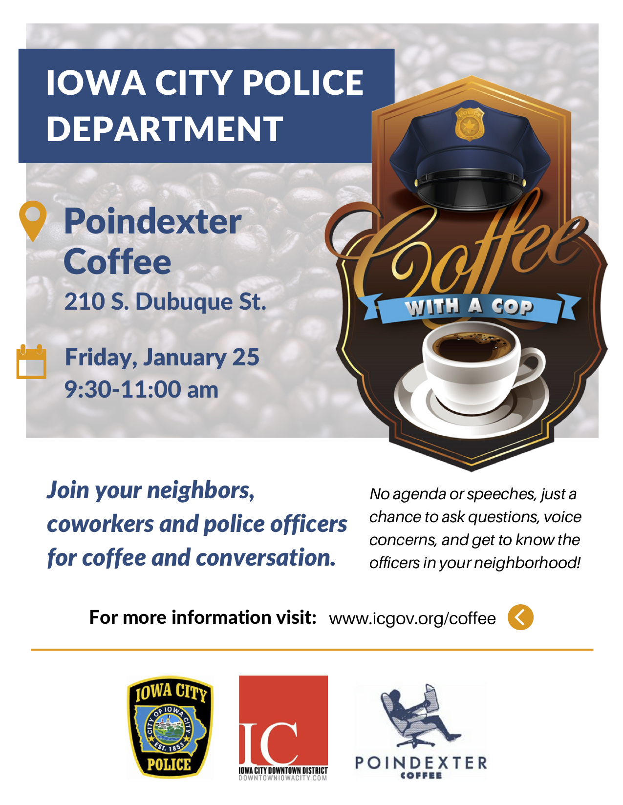 Iowa City Police Coffee with a Cop flyer