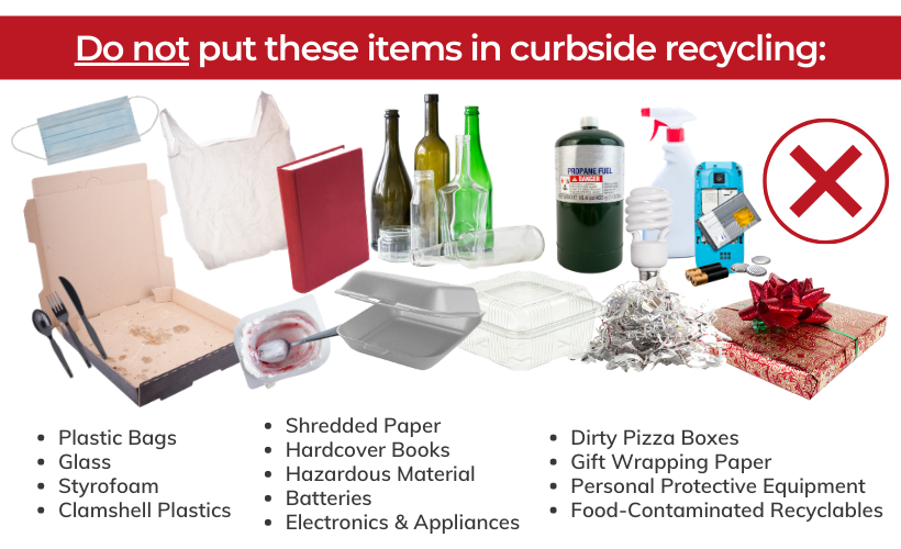 items that should not be placed in a recycling bin