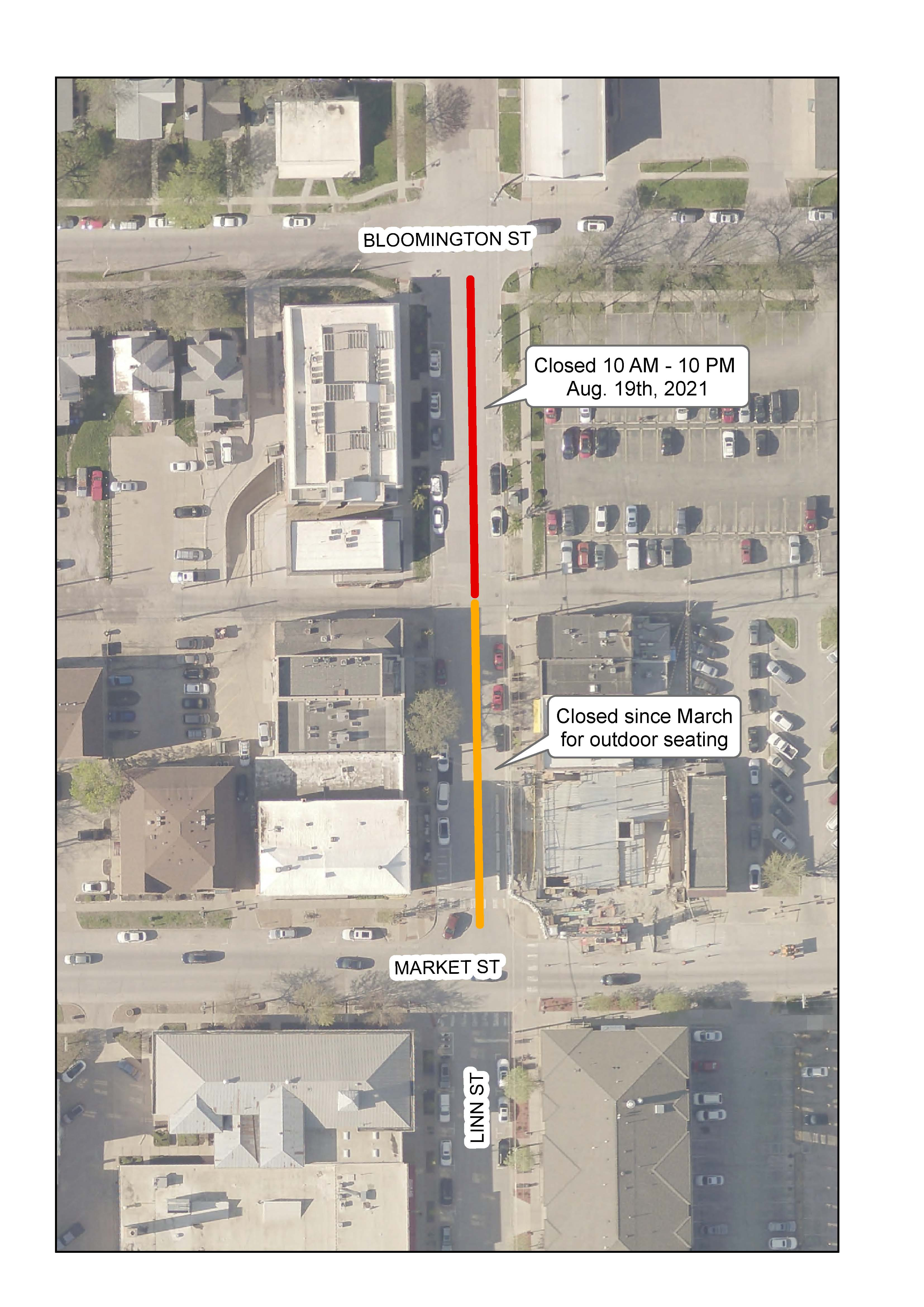 A map of the road closure needed for the Farm to Street Dinner on Aug. 18, 2021.