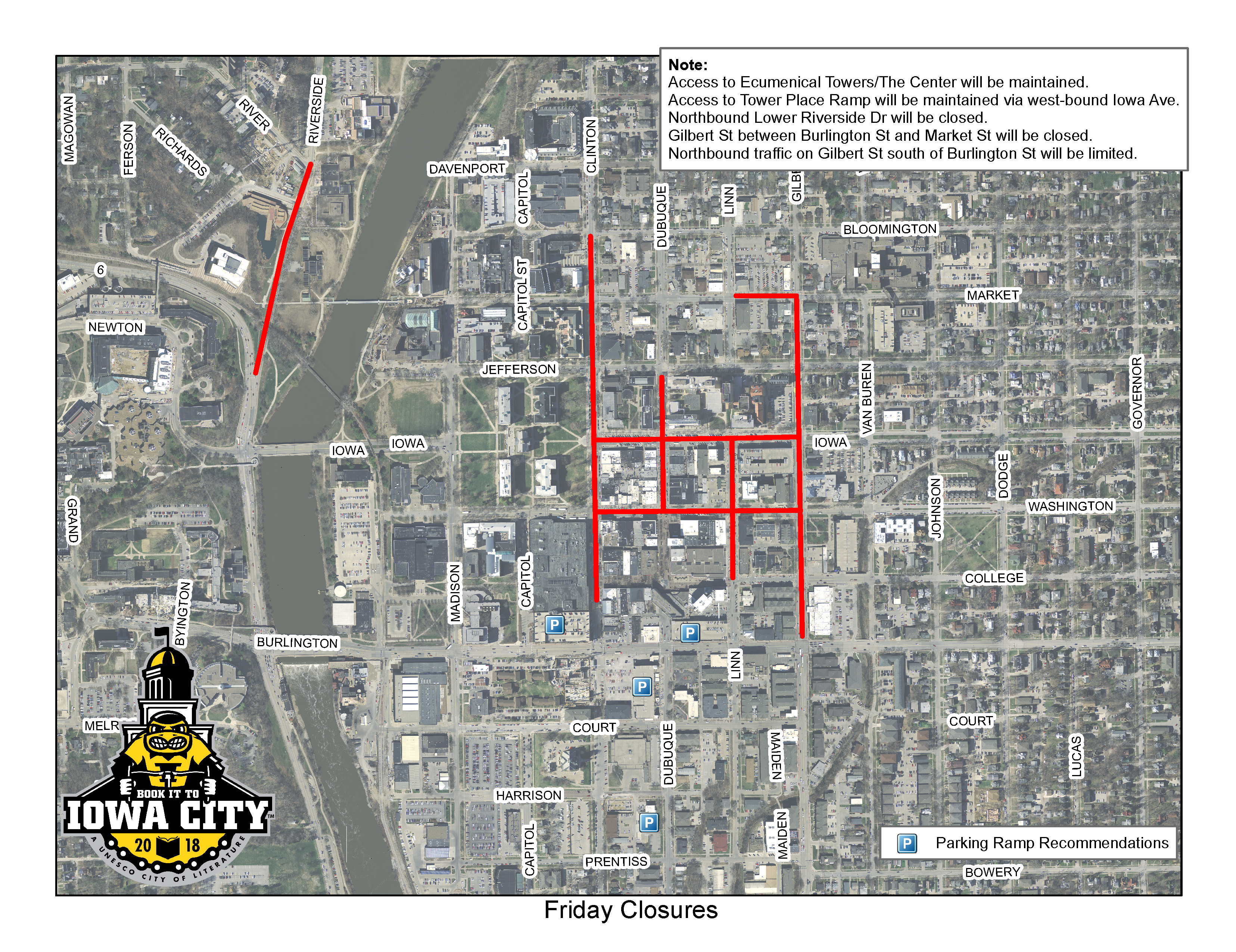 A map of the July 27 street closures for Iowa City RAGBRAI