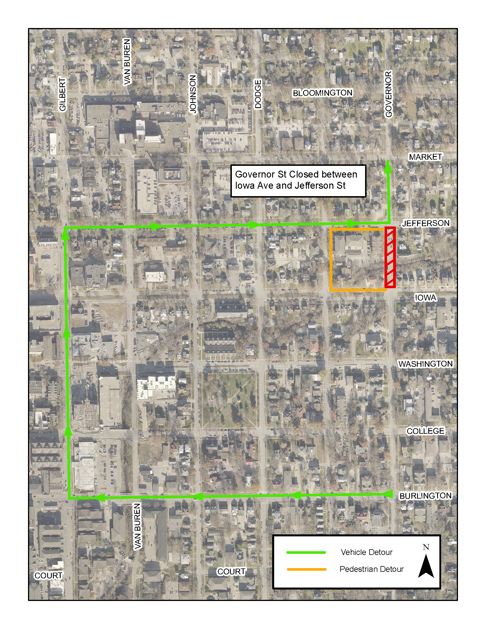 A detour map for the Governor Street bridge closure.
