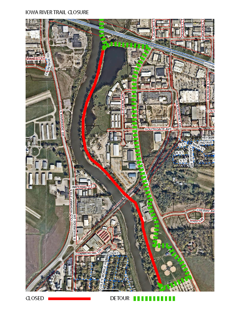 A map of a trail closure along the eastern bank of the Iowa River is shown.