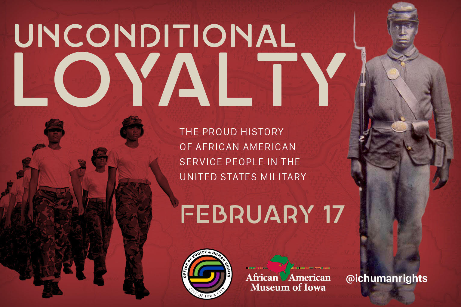 A graphic promoting a presentation about African Americans serving in the military.