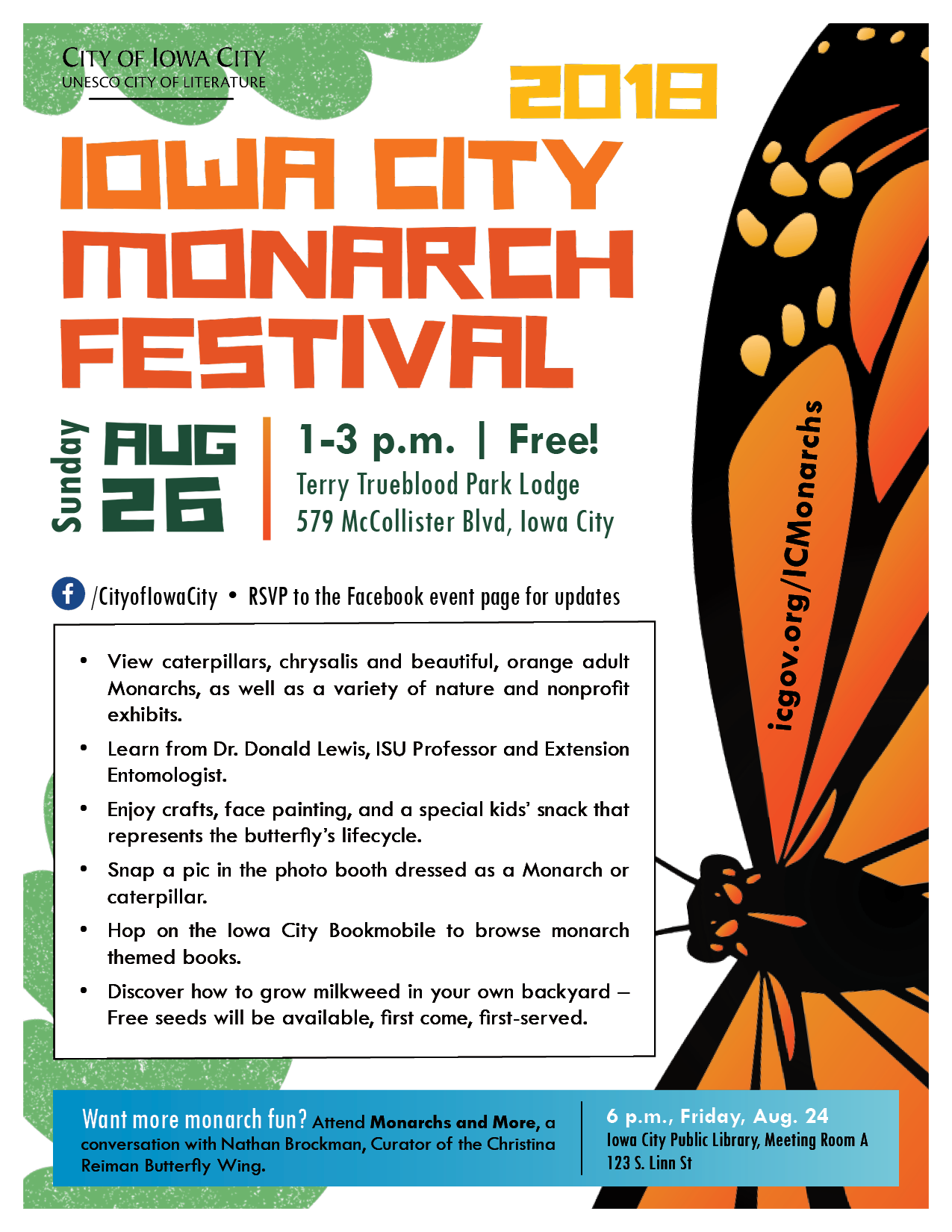 Iowa City Monarch Festival flyer
