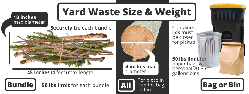 yard waste bundles size and weight requirements