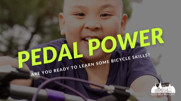 """A graphic with a child riding a bike with the words """"pedal power"""" shown."""