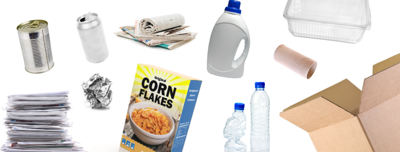 Commonly recycled items like plastic bottles and cardboard boxes are shown.