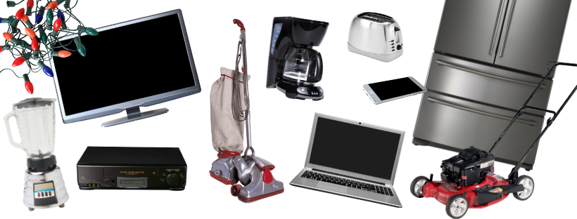 electronics and appliances such as a computer, lawn mower, and cell phone