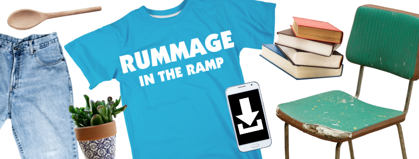 a Rummage in the Ramp t-shirt and secondhand items