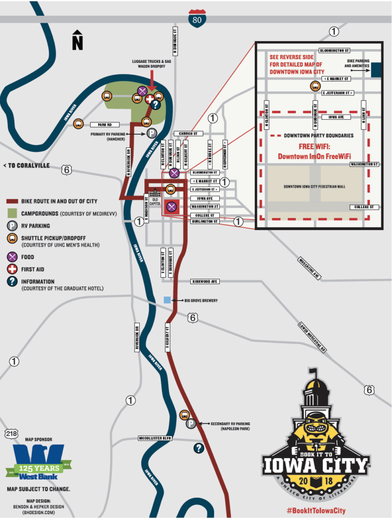 A map of the RAGBRAI route