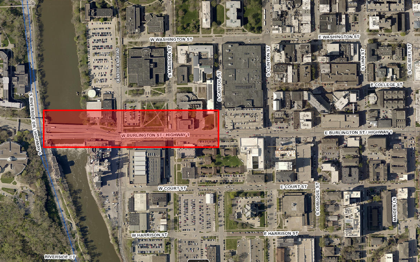 Map of where construction will be for the Burlington, Madison project.
