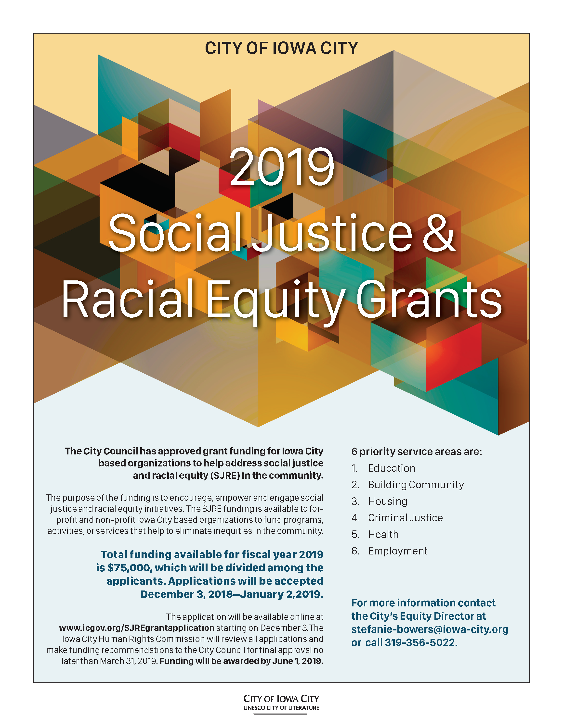A flyer promoting the social justice racial equity grant