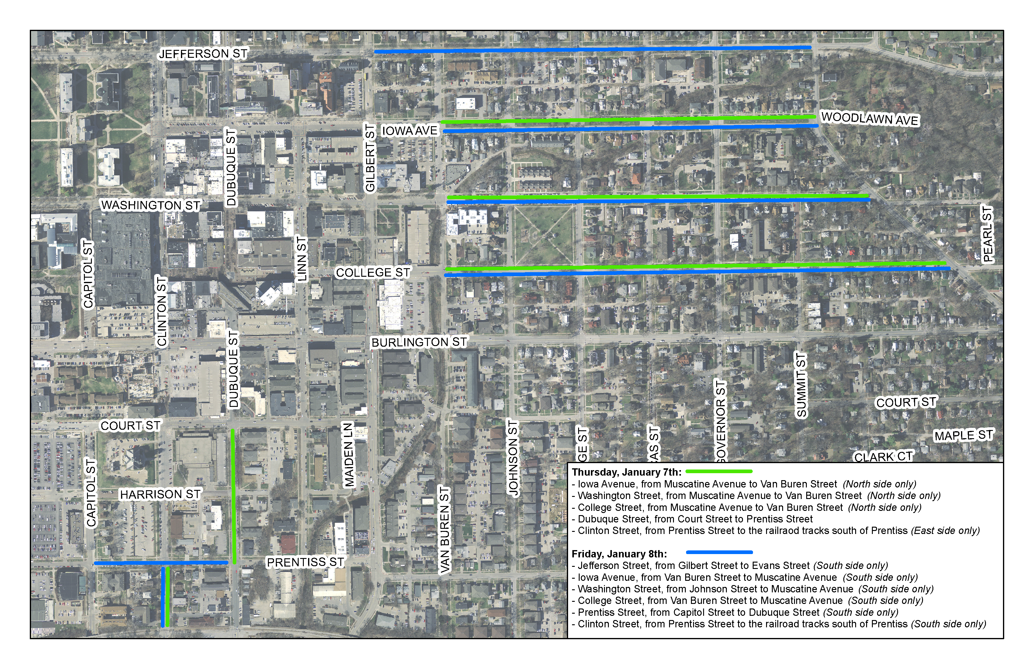 Map of streets that will be towed on Jan. 7 and Jan. 8, 2021.