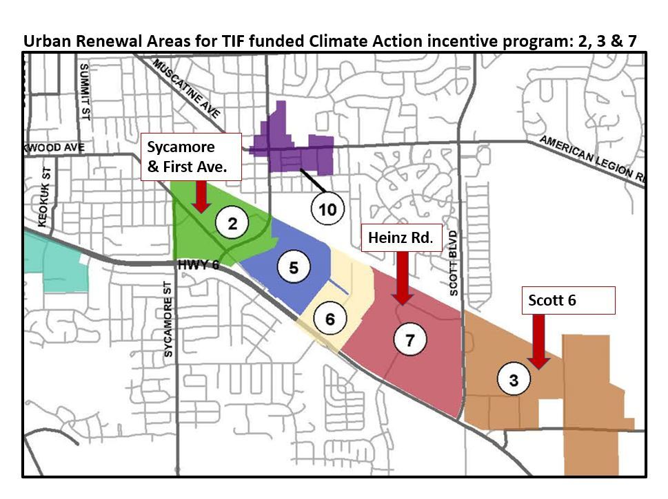 A map of areas that can receive funds from the TIF-funded Climate Action incentive program.