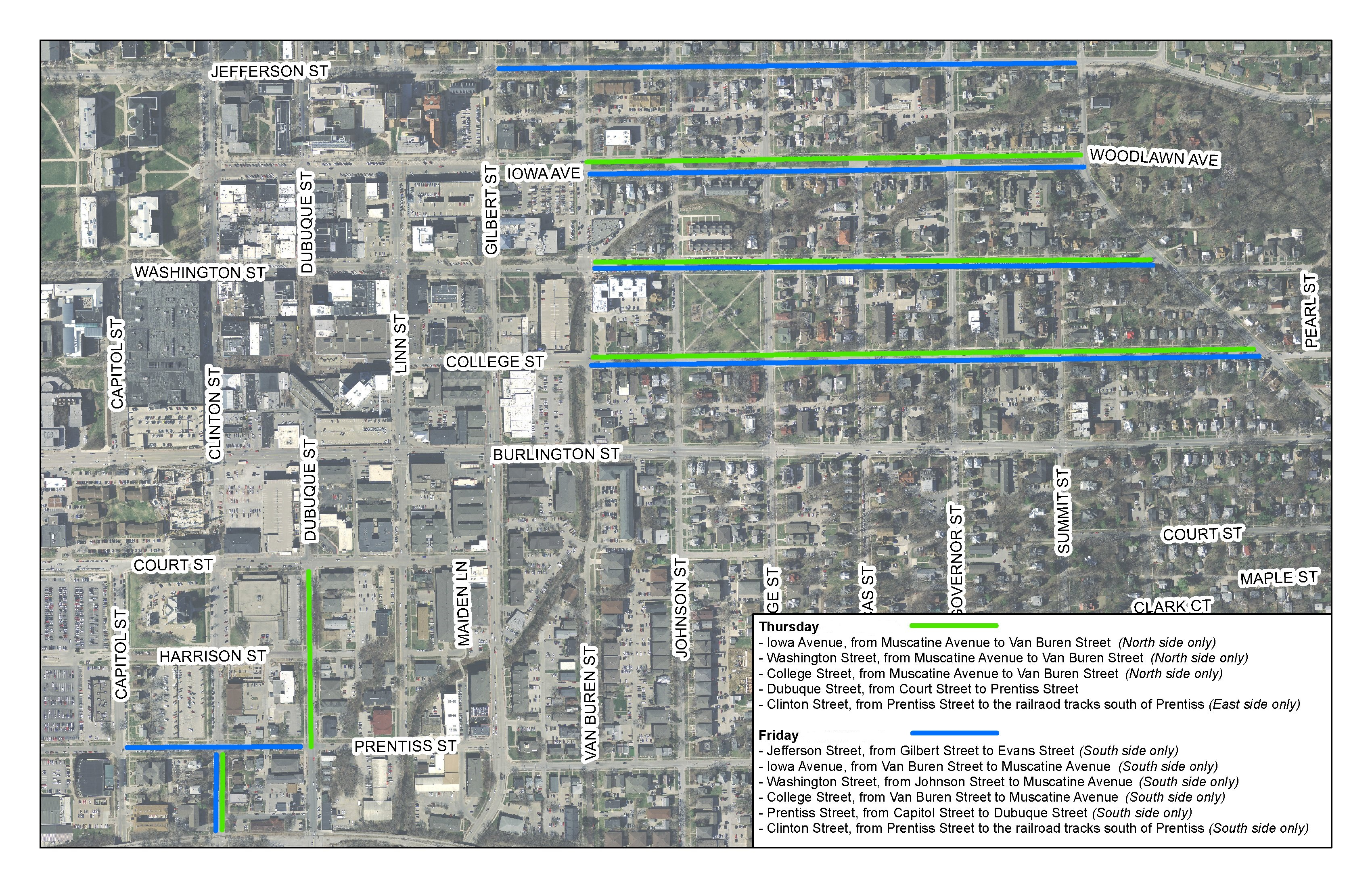 Map of streets that will be towed to clear snow on Feb. 25 and 26, 2021.