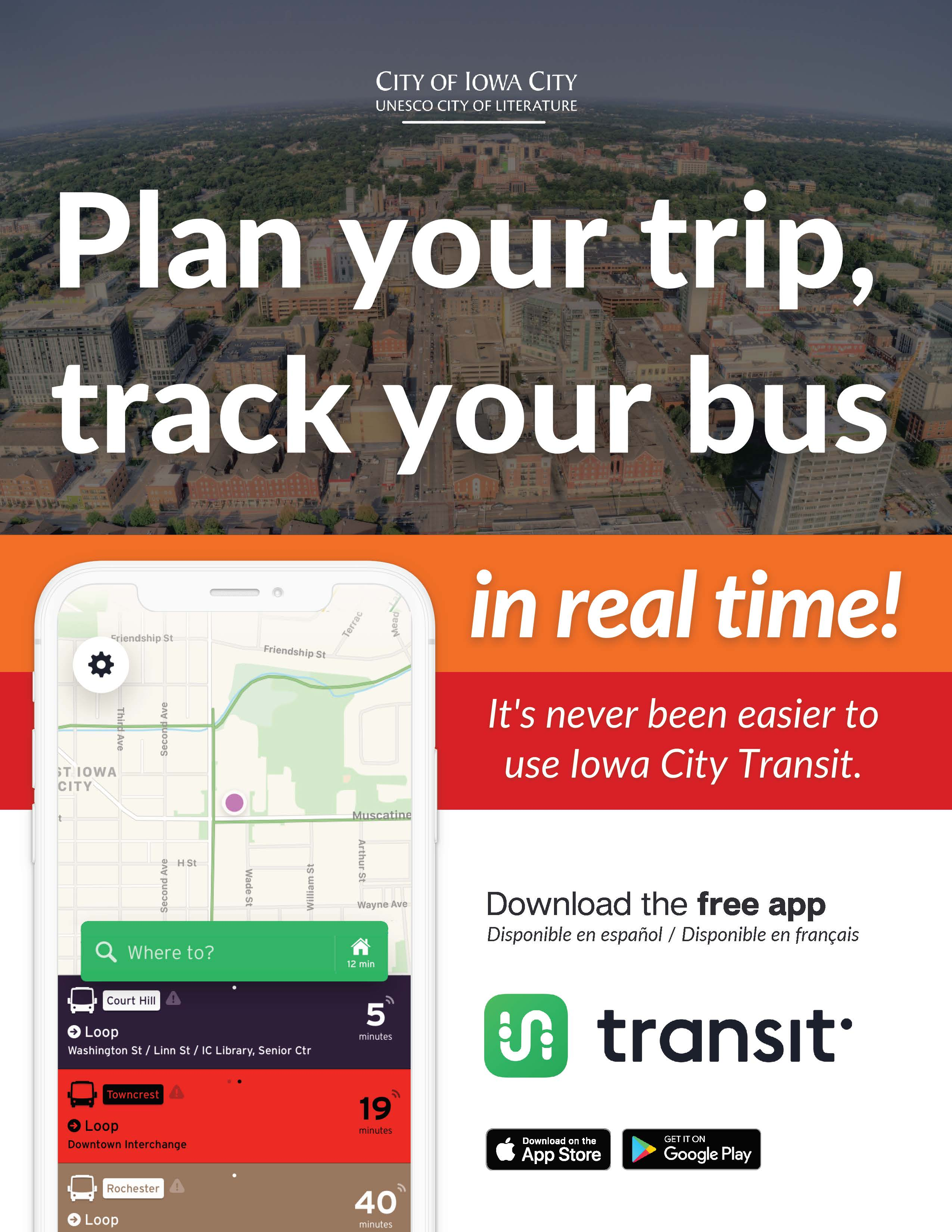 A flyer for the Transit App.