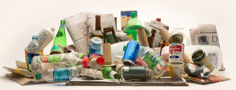 items that can be recycled such as plastic bottles and cardboard