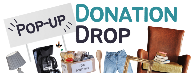 Pop-up Donation Drop program logo with accepted donation items