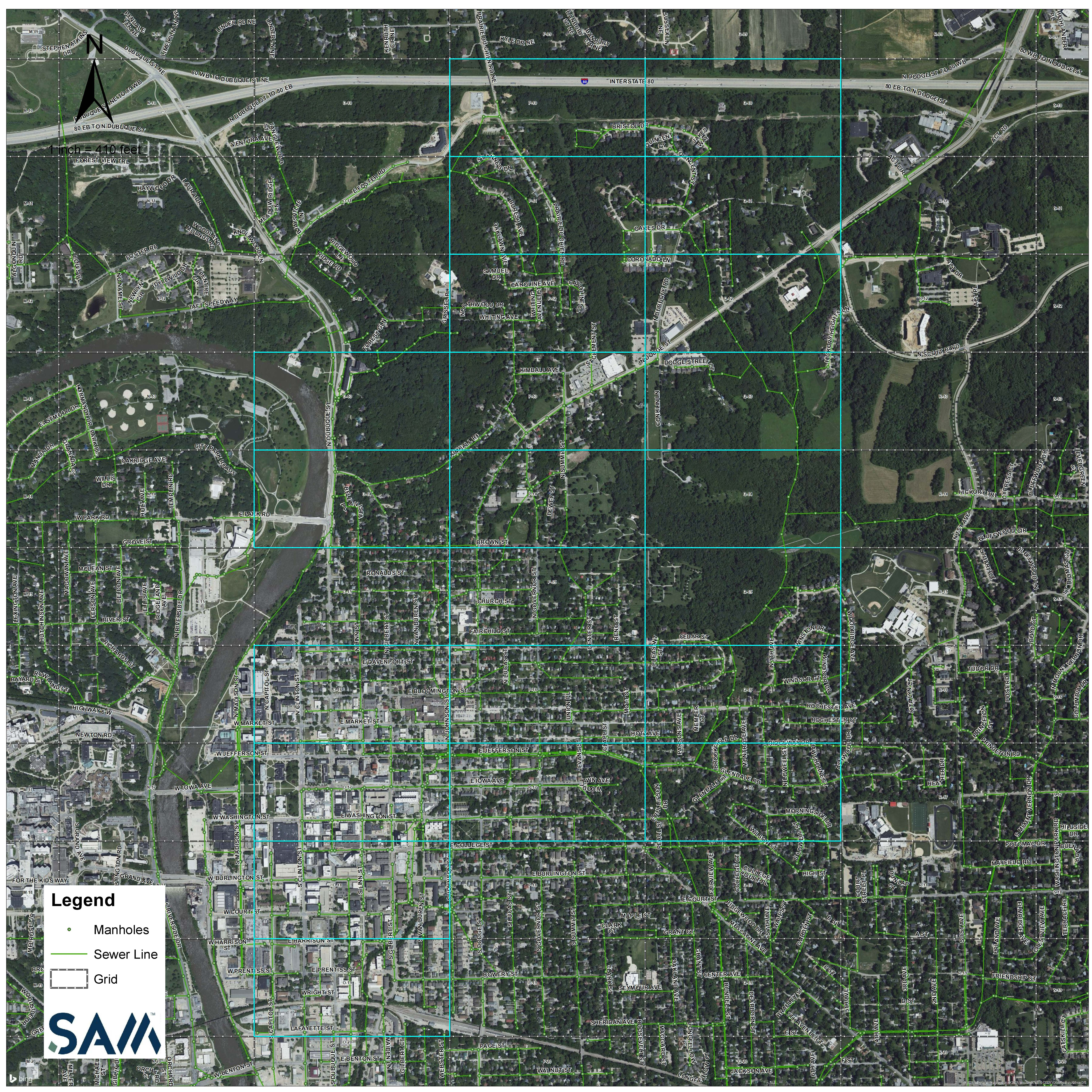 A map of sewer line mapping being done in Iowa City.
